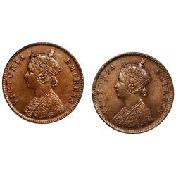 Lot of two India (British), copper 1/4 annas of Victoria: Bombay, 1886; Calcutta, 1897.