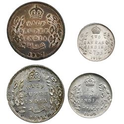 Lot of four British (India) coins of Edward VII: Bombay, 1/2 rupee, 1907; Calcutta, 1/2 rupee, 1910;