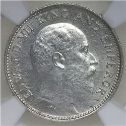 Calcutta, India (British), 1/4 rupee, Edward VII, 1904, NGC MS 62.