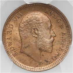 Calcutta, India (British), copper 1/4 anna, Edward VII, 1903(C ), PCGS MS65RD, finest known in PCGS