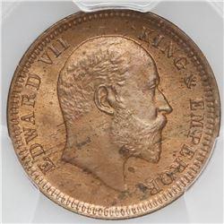 Calcutta, India (British), copper 1/4 anna, Edward VII, 1903(C ), PCGS MS65RD, finest known in PCGS