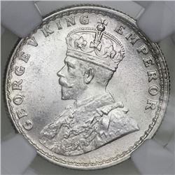 Calcutta, India (British), 1/2 rupee, George V, 1926, NGC MS 64.