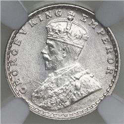 Calcutta, India (British), 2 annas, George V, 1915, NGC MS 63.