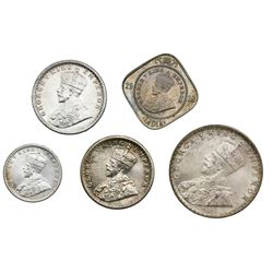 Lot of five India (British) coins of George V: Bombay, rupee, 1912; Calcutta, 1/2 rupee, 1936 (two);