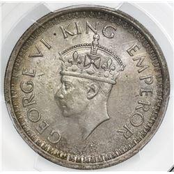 Bombay, India (British), rupee, George VI, 1944(B), bead at bottom, PCGS MS64.