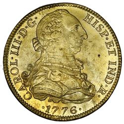 Mexico City, Mexico, bust 8 escudos, Charles III, 1776FM.