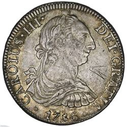 Mexico City, Mexico, bust 8 reales, Charles III, 1786FM, ex-Jones.