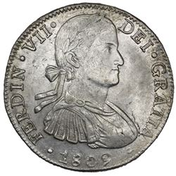 "Mexico City, Mexico, bust 8 reales, Ferdinand VII transitional (""armored"" bust), 1809TH, ex-Jones."