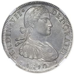 "Mexico City, Mexico, bust 8 reales, Ferdinand VII transitional (""armored"" bust), 1810HJ, NGC MS 61."