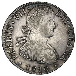 "Mexico City, Mexico, bust 8 reales, Ferdinand VII transitional (""armored"" bust), 1810HJ, ex-Jones."
