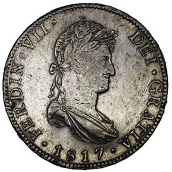 Mexico City, Mexico, bust 8 reales, Ferdinand VII, 1817JJ, ex-Jones.