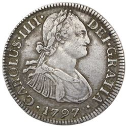 Mexico City, Mexico, bust 2 reales, Charles IV, 1797FM.