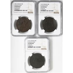 Lot of three Oaxaca (Morelos/SUD), Mexico, copper 8 reales: 1812, NGC XF details / damaged; 1814, NG