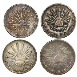 Lot of four Mexican cap-and-rays 4 reales, as follows: Guanajuato, 1839PJ, 1856PF, 1862/1YE; San Lui