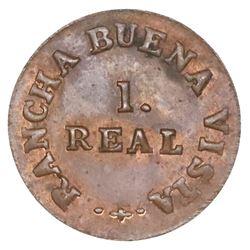 Merida, Mexico, copper 1 real token, 1868, Rancha Buena Vista.