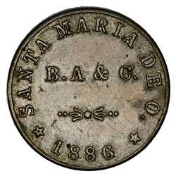 Campeche, Mexico, nickel 1 real hacienda token, 1886 date, Santa Maria de Oloron, Carmen.