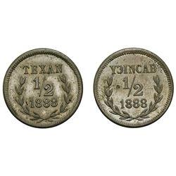 """Lot of two Yucatan, Mexico, nickel """"1/2"""" tokens, Fincas de C. Camara, 1888, one with TEXAN and the o"""