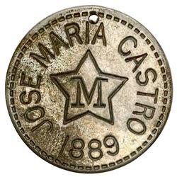 Yucatan, Mexico, incuse nickel token, San Pedro Chimay, Jose Maria Castro, 1889.