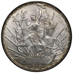 """Mexico City, Mexico, 1 peso """"caballito,"""" 1910, ex-Jones."""
