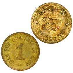 Lot of two Panama brass coffee tokens: Nemesio Ledesma, La Esperanza, Boquete, vale por una lata de