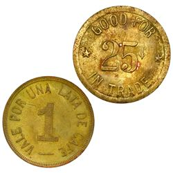 Lot of two Panama brass coffee tokens: Nemesio Ledesma, La Esperanza, Boquete, vale por una lata de