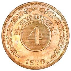 Paraguay (struck at the Heaton mint, England), copper 4 centesimos, 1870-SHAW.