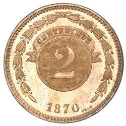Paraguay (struck at the Heaton mint, England), specimen copper 2 centesimos, 1870-SHAW, PCGS SP64RB.