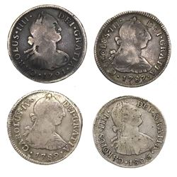 Lot of four Lima, Peru, bust 2 reales, Charles III and IV: 1787MJ, 1789IJ, 1791IJ and 1806JP.