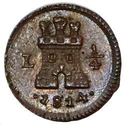 Lima, Peru, 1/4 real, 1814.