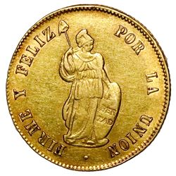 Lima, Peru, gold 2 escudos, 1853MB.