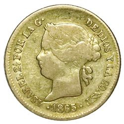 Philippines, gold 1 peso, Isabel II, 1865.