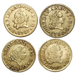 Lot of four Madrid, Spain, gold bust 1/2 escudos of Ferdinand VI, assayer JB: 1747, 1752, 1753, 1756