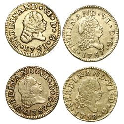 Lot of four Spanish gold bust 1/2 escudos of Ferdinand VI, as follows: Madrid, 1757JB and 1758JB; Se