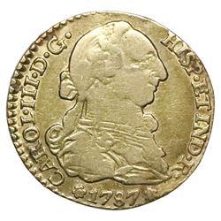 Seville, Spain, bust 1 escudo, Charles III, 1787CM.