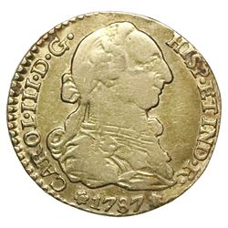 Seville, Spain, bust 1 escudo, Charles III, 1787CM.