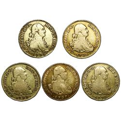 Lot of five Madrid, Spain, gold bust 1 escudos, Charles IV, assayer MF, dates as follows: 1791, 1793
