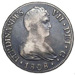 Seville, Spain, bust 8 reales, Ferdinand VII, 1808CN.