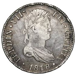 Madrid, Spain, bust 8 reales, Ferdinand VII, 1818GJ.