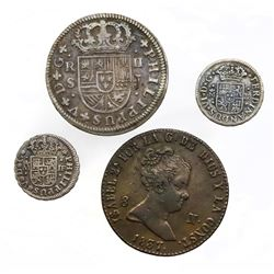 Lot of four Spanish milled minors: Seville, 2 reales, 1724; Seville, 1/2R, 1735 and 1750; Segovia, c