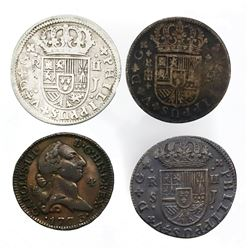 "Lot of four Spanish milled minors: three 2 reales ""pistareens"" (Segovia 1722, Seville 1721 and 1723)"