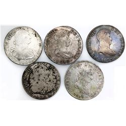 Lot of five Spanish colonial bust 8 reales, various mints (Mexico, Lima, Potosi and Guatemala), Char