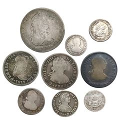 Lot of nine Spanish colonial pillar and bust minors (one 4R, three 2R, two 1R and three 1/2R), mints