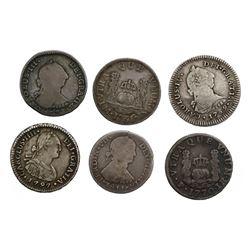 Lot of six Spanish colonial (various mints) pillar and bust 1R, as follows: Potosi, 1770JR; Santiago