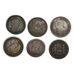 Lot of six Spanish colonial (various mints) pillar and bust 1R, as follows: Potosi, 1770JR; Santiago