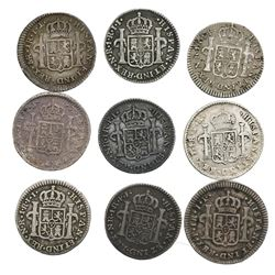 Lot of nine Spanish colonial (various mints) bust 1R, as follows: Potosi, 1777PR; Bogota, 1802JJ, 18