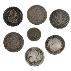 Lot of seven Spanish colonial (various mints) bust 1/2R (six) and 1/4R (one), as follows: Santiago,