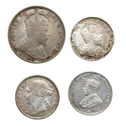Lot of four Straits Settlements coins: 20 cents, Edward VII, 1903; 10 cents, Victoria, 1882-H; 10 ce