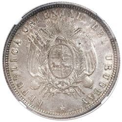 Uruguay (struck in Paris), 50 centesimos, 1877-A, NGC AU 58.