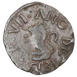 Guayana, Venezuela (royalist), copper 1/2 real, Ferdinand VII, 1815.