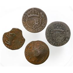 Lot of four Caracas, Venezuela, copper 1/2R (1817?) and 1/4R (1814 and 1817 [two]).